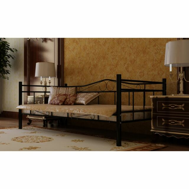 Black Single Day Bed Metal 0.90 x 2m Antique French Style Guest Bed Living Room