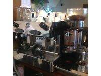 Commercial coffee machine and grinder