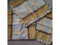 Curtains 90 x 90 fully lined, matching cushions, pelmet professionally made.