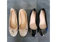 Womens Flat Pumps Ballerina Shoes Black and Gold x 2 size 6