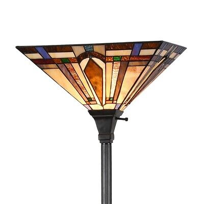 Crystal Torchiere Floor Lamp - Tiffany Style Vintage Mission Floor Torchiere Lamp 1-Light Reading Standing Lamp