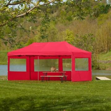 tectake- partytent 3x6 m. opvouwbaar- 4 wanden- rood 403166