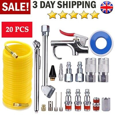 20PC Air Compressor Fitting Accessory Kit Connectors Hose Blow Gun Tyre Inflator