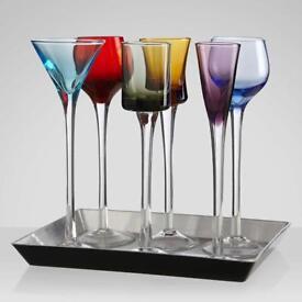 7 Piece Long Stem Liqueur Set   Artland Jewel Tone Cordial Set
