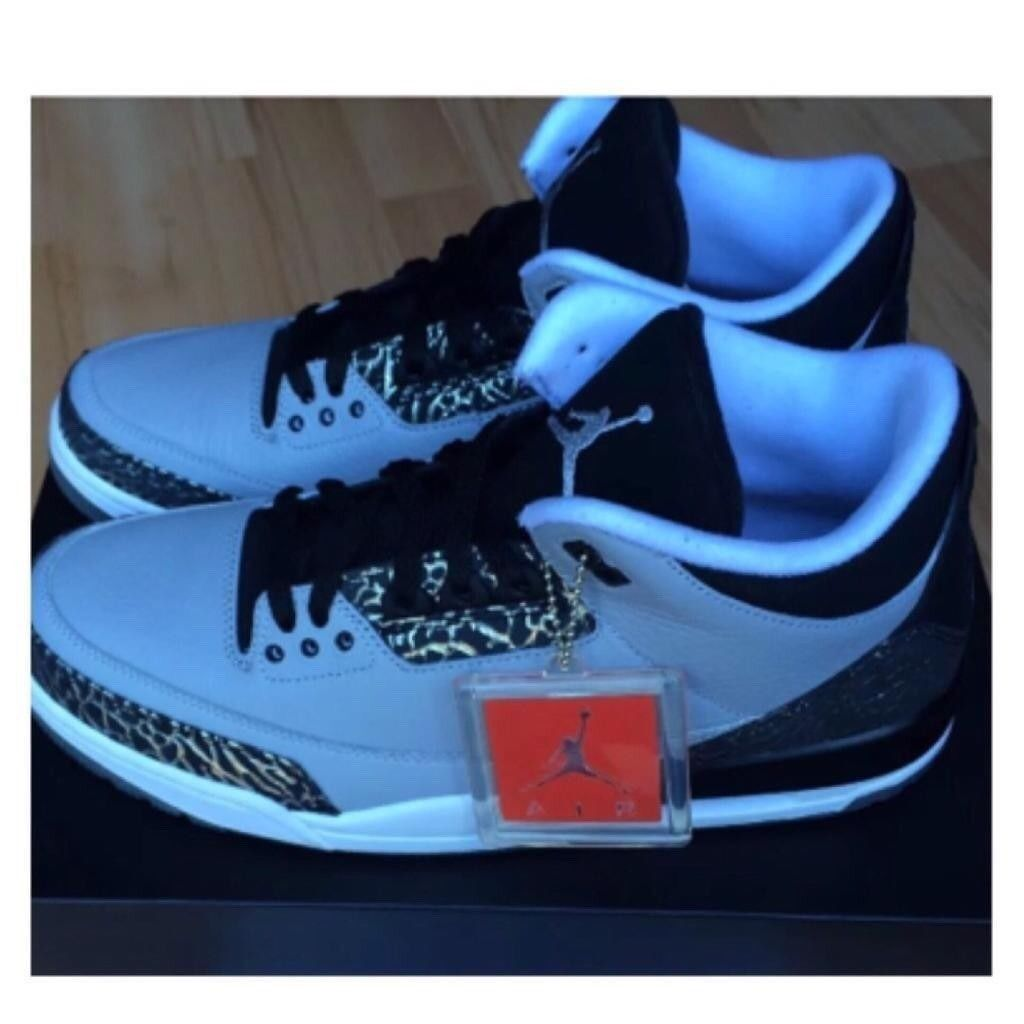 0ba1e2372d8 Nike Air Jordan 3 WOLFGREY Retro3 Black Silver Cement3 Print RARE UK10  FOOTLOCKER RECEIPT 100sales