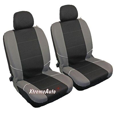 UNIVERSAL Front CAR SEAT COVERs Pair Black/Grey Washable Airbag Compatible