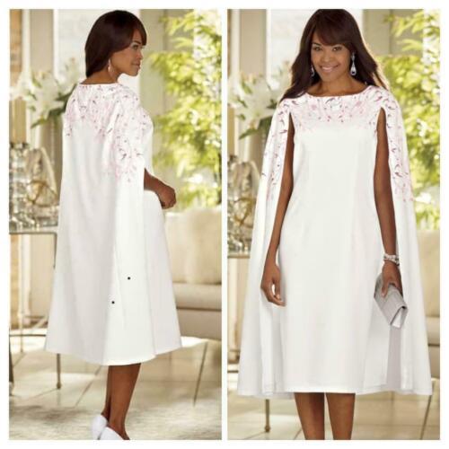 Ashro Pink Ivory Formal Wedding Church Marielle Cape Dress 6 8 10 14 16 22W 26W
