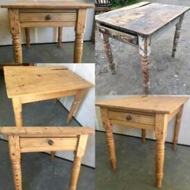 Restored Rustic solid pine farmhouse table