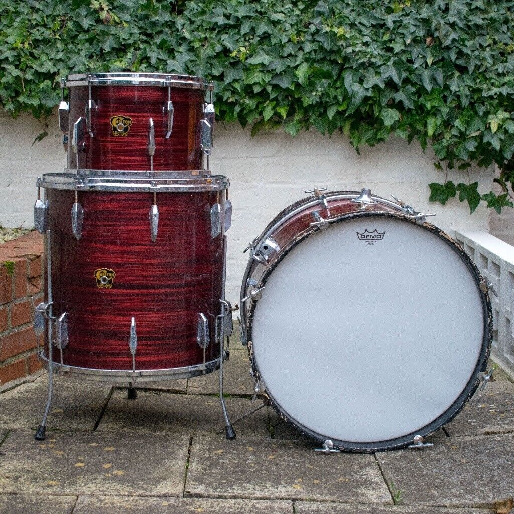 Vintage 1960s Carlton Drum Kit with Cymbals & Stands