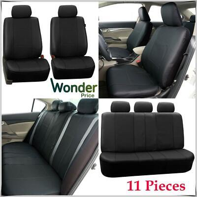 Universal Black Leather Look Washable Car Seat Covers Airbag Compatible Seat Set