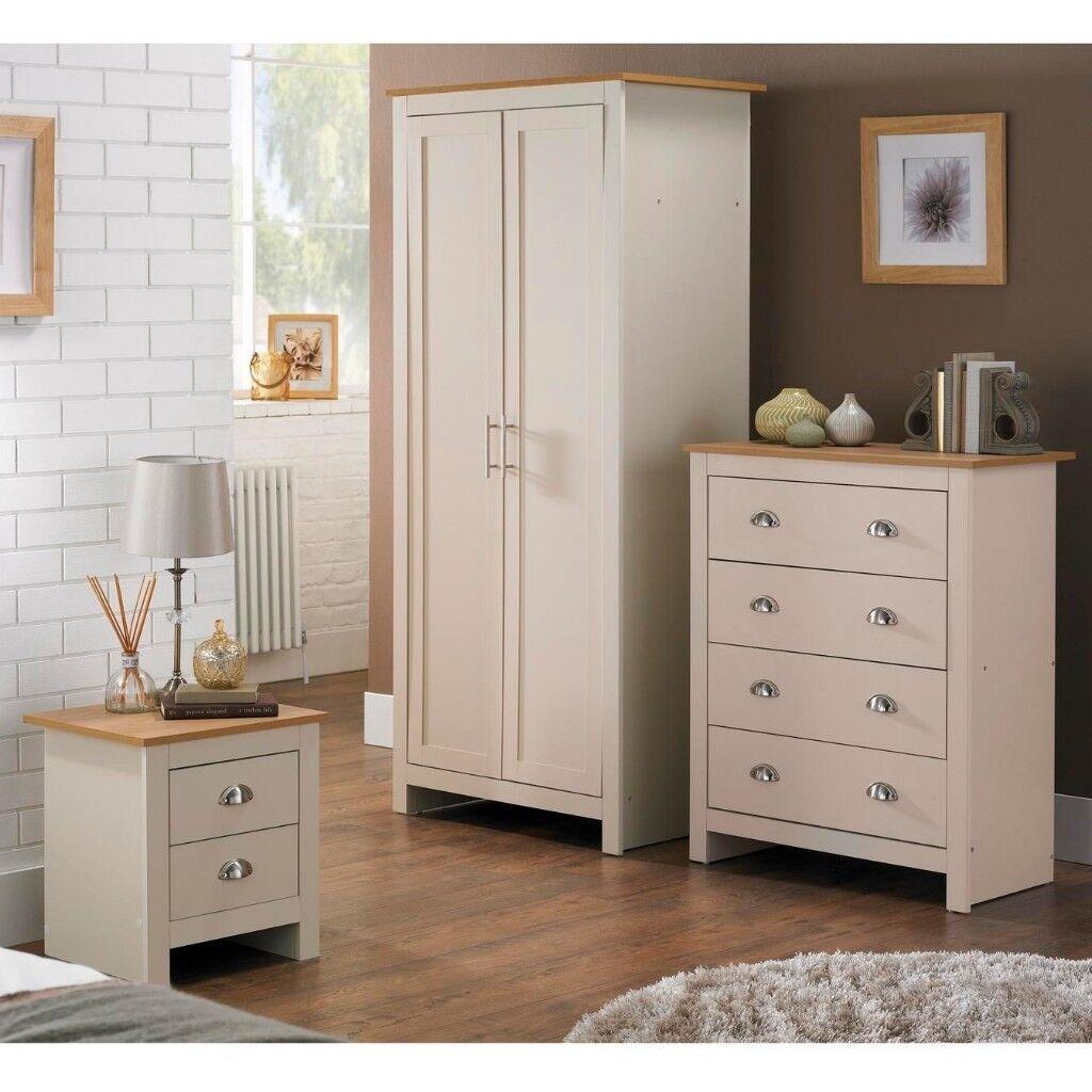 Cream Bedroom 3 Piece Set 2 Door Wardrobe 4 Drawer Chest 2