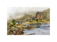 'Eilean Donan': a framed print of my watercolour painting.