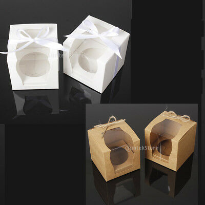 24pcs Kraft Paper Cake Cupcake Boxes Bakery Box Wedding Favors White Brown