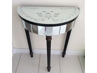 Mirrored half moon console table