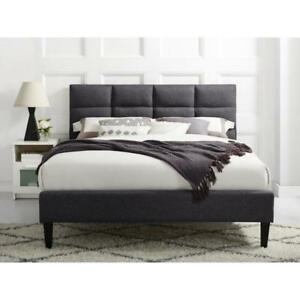 Zoey Transitional Upholstered Bed - Twin or Full/Double or Queen - Grey