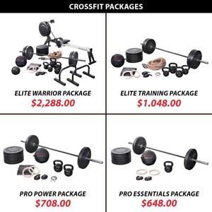 Weightlifting Powerlifting Plate Rings Rower Training Bundle Crossfit Package Set Weight Kettlebell Barbell Olympic