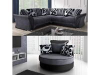 LUXURY SHANNON CORNER SOFA + SWIVEL CHAIR AVAILABLE IN BLACK AND GREY ORDER NOW
