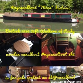 Historic 72ft canal boat for sale