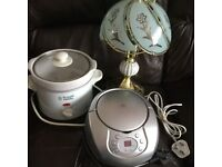 5 X ITEMS £3.EACH.SLOW COOKER.KETTLE.LAMP.BRITA WATERFILTER.CD RADIO.PHONE CALLS ONLY.