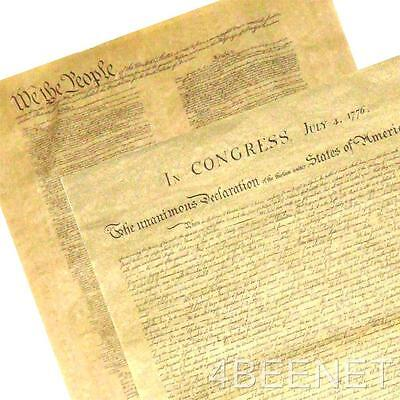 2 BIG POSTERS replica DECLARATION OF INDEPENDENCE + U.S. CONSTITUTION print