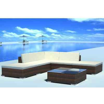 vidaXL Outdoor Lounge Set Poly Rattan Wicker Brown Sectional Sofa Set Couch