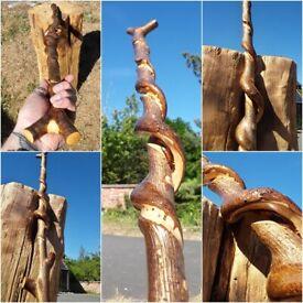 318 Walking Stick, Hazel thumb stick with honeysuckle twist