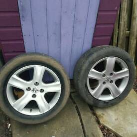 "4 x Peugeot 16"" alloy wheels with tyres"