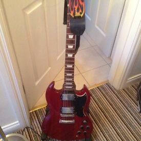 Vintage Cherry Red Guitar & stand