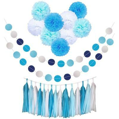 MagiDeal Wedding Party Decor Kit Papier PomPom Circle Banner Tassel Garland ()