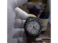 New grey face sand gold canvas leather bracelet black Casing Omega Speedmaster Dark Side Of The Moon