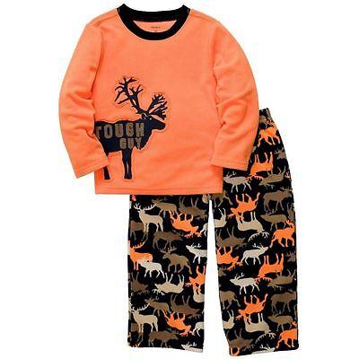 - Carter's 2PC Kid Boys TOUGH GUY Fleece Pajamas Set MOOSE 3T