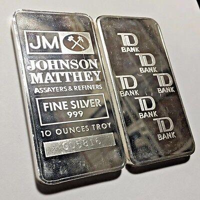 Vintage Jm Johnson Matthey Td Bank Canada 10 Oz 999 Silver Bar   Scarce