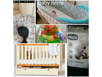 Baby cot with other items
