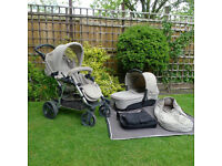 Concord Fusion Pram, buggy board, footmuff, rain-cover, carry coat, nappy bag. Pushchair