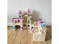 Melissa & and Doug fold and go wooden princess castle palace + set of wooden castle guard figures