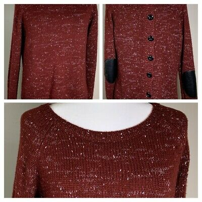 Market Spruce Stitch Fix Sweater Size M Elbow Patches Burgundy Button Up Back
