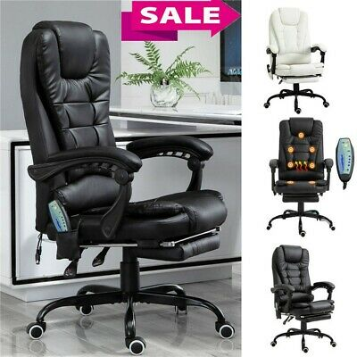 Heated Vibrating Massage Office Chair Executive Ergonomic Computer Desk Black Us