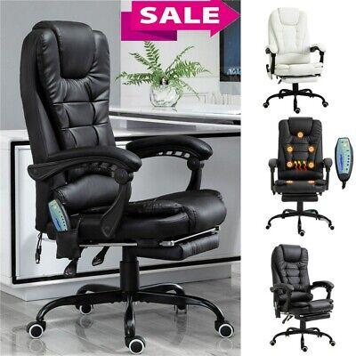 Heated Vibrating Massage Office Chair Executive Ergonomic Computer Desk Black Us