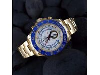 New white dial gold oyser bracelet Rolex Yachtmaster II Mens watch automatic sweeping