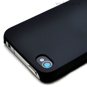 Black-Ultra-Thin-Rubberized-Matte-Hard-Case-Cover-iPhone-4G-4S-w-Screen-Guard