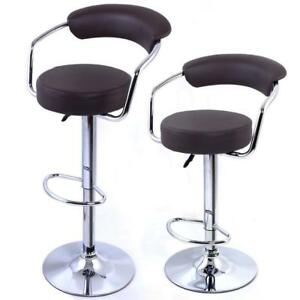Brown Modern Adjustable Counter Swivel Pub Style Bar Stools / Barstools Set of 2 - BRAND NEW - FREE SHIPPING
