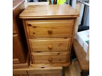 Solid wood bedside 3 drawers