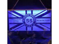 Glasgow Rangers 2020 / 2021 Champions laser engraved LED hanging sign