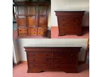 Bedroom furniture set: wardrobe and two chest of draws