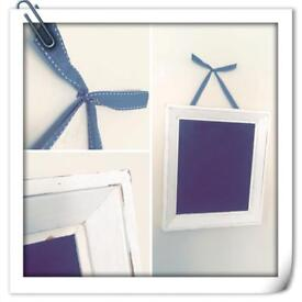 Shabby chic kitchen memo chalk board with grey ribbon