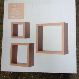 Next 3 beech effect square shelves