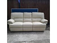 Cream Real Leather 3 Seater Electric Recliner Sofa