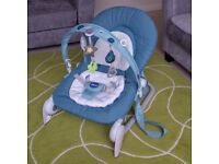 CHICCO HOOPLA BABY ROCKER / BOUNCER SEAT - BLUE - EXCELLENT CONDITION