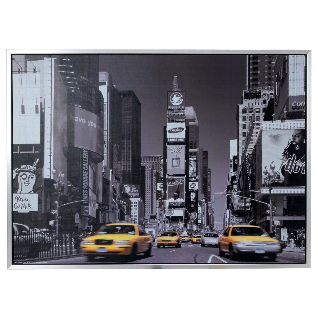 ikea new york black and white print canvas yellow taxi cab