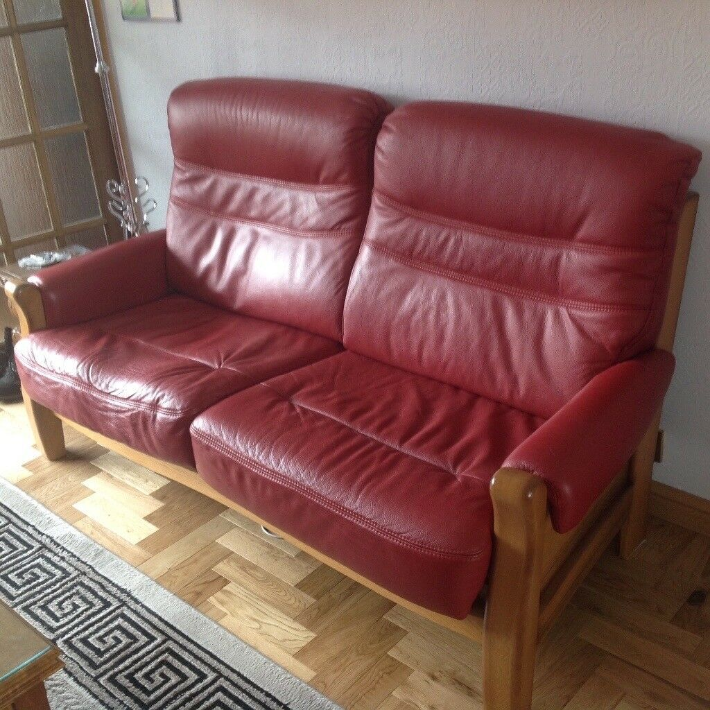 2ce95cf0d68 LOVELY 3 & 2 SEATER LEATHER AND SOLID WOOD SOFAS, 2 SEATER SELDOM USED. Bridge  of Don ...